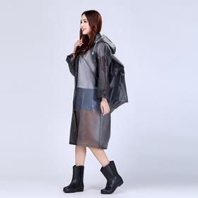 成人雨衣半透明长款户外徒步旅游男女透明帽檐背包EVA雨衣-864685