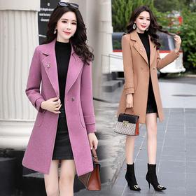 羊毛呢外套女中长款秋冬纯色呢子大衣 CS-XXM313