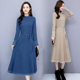 拼接长裤长袖半高领连衣裙纯色宽松舒适 CQ-AZRN8661-2