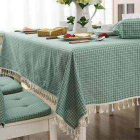 日式清新布艺餐桌布格子条纹点点流苏桌布客厅茶几巾电视台布-864673