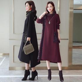 中长款潮流拼接气质时尚休闲长袖连衣裙高领 CS-YZCD388