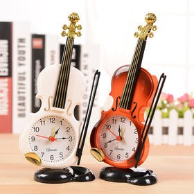 仿真小提琴闹钟 创意乐器造型桌面时钟客厅塑料摆件学生台钟座钟-864585