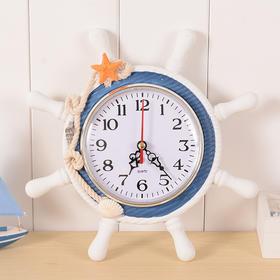 地中海风格船舵造型时钟 木质时尚做旧复古学生创意钟表挂钟摆件-864584