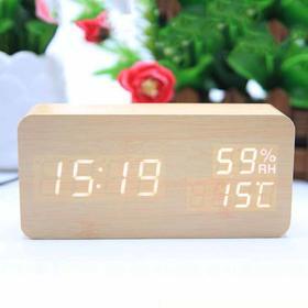 新款创意温湿度led木头钟 LED智能声控电子闹钟 木质数字座钟时钟-864582