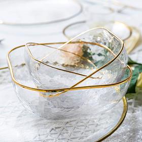 摩登主妇 ins北欧金边锤纹玻璃碗甜品碗饭碗家用果蔬沙拉碗早餐碗