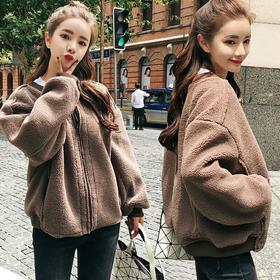 羊羔毛外套女2018秋冬装新款韩版短款学生宽松棒球服bf原宿风夹克
