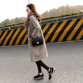 格子毛呢大衣女中长款2018冬季新款韩版宽松加厚过膝韩国毛呢外套