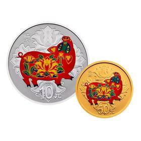 【新品预订】2019年猪年生肖圆形彩色金银币(3克金+30克银)(部分订金)