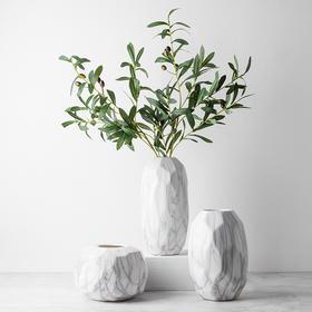 陶瓷花瓶摆件简约客厅样板房北欧风格大理石平格纹花瓶花器 贝茜