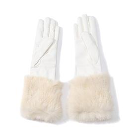 THOMASINE 长款兔毛羊皮手套