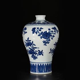 皇家六珍青花折枝花果纹梅瓶