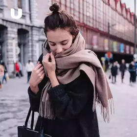 澳洲进口 IZR UGG 羊绒围巾,多色可选,纯色设计,百搭单品