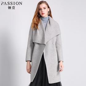 钡萱冬季新款气质大翻领长袖呢子大衣女修身中长款毛呢外套WS5206