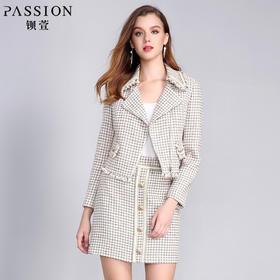 【商场同款】钡萱2018冬季新款 淑女粗花呢西装领短款外套女W82039A