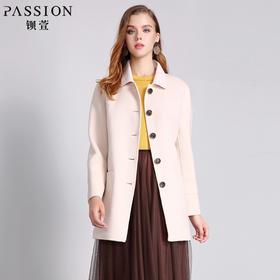 钡萱PASSION 冬季新款 时尚羊毛妮子大衣女中长款毛呢外套WS5210