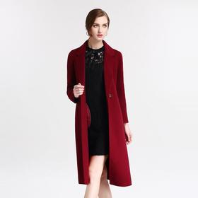 钡萱冬季新款时尚西装领修身毛呢大衣女呢子外套中长款 B2