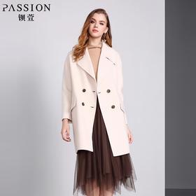 钡萱冬季新款翻领修身中长款毛呢外套双面妮长袖呢子大衣女WS5201
