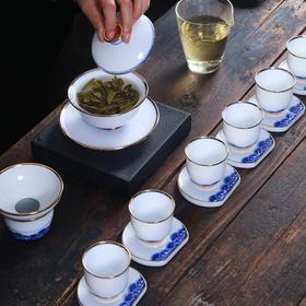 白瓷茶具套装 整套陶瓷功夫茶具家用手绘德化玉瓷盖碗茶杯