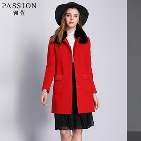 钡萱冬季新款大毛领长袖大衣女红色修身中长款毛呢外套14W647A