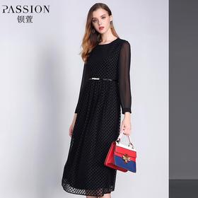 【商场同款】钡萱2018冬季新款 优雅肌理印花蕾丝高腰连衣裙W82150G