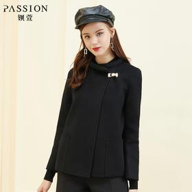 钡萱2018冬季新款时尚休闲羊毛口袋修身显瘦毛呢外套女W7S7003