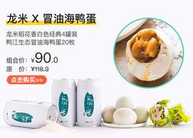 【米饭伴侣】龙米稻花香白色经典4罐装+绿江冒油咸鸭蛋