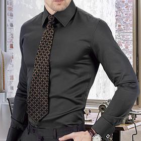 男士尊轩象牙黑微纹法式衬衫