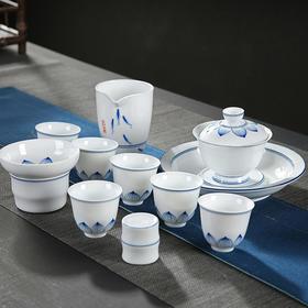 功夫茶具套装整套手绘青瓷白瓷家用简约客厅泡茶盖碗茶杯茶壶