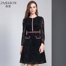 【商场同款】钡萱2018冬季新款时尚优雅蕾丝植绒高腰连衣裙W82227G