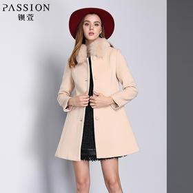 钡萱冬季新款中老年长袖呢子大衣女毛领修身中长款毛呢外套W5122A