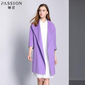 钡萱冬季新款大翻领修身中长款毛呢外套紫色长袖呢子大衣女WS5204