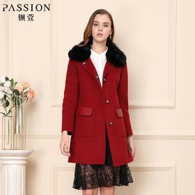 钡萱冬季新款毛领修身中长款毛呢外套红色长袖呢子大衣女WS5213