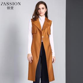 【商场同款】钡萱2018冬季新款时尚纯色西装领无袖风衣外套女W82229A