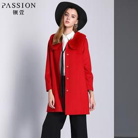 钡萱冬季新款毛领长袖呢子大衣女修身单排中长款毛呢外套W5120A