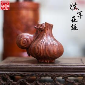 周广胜手工木雕 胜算在握 木质传统工艺品摆件礼品送领导上司同事