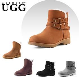 「帅气显瘦」澳洲 AUSHEEP UGG 马丁雪地靴、高帮靴,舒适温暖百搭,羊皮毛一体,迷人的荔枝纹肌理!