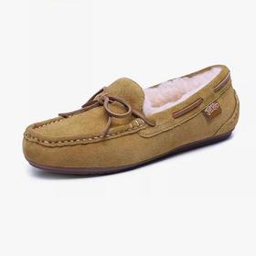 简帛成人款蝴蝶结羊毛豆豆鞋