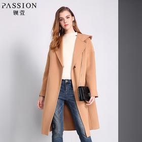 钡萱2018冬季新款 时尚纯色连帽双面呢外套中长款宽松毛呢大衣W7S6203