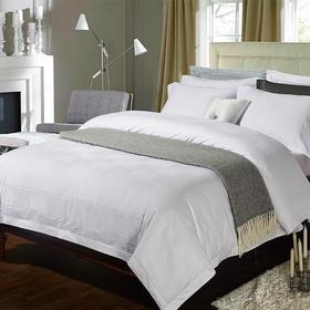 【四件套】酒店宾馆布草 60s白色提花酒店四件套   - 缔歌纺织