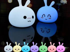 可爱兔USB硅胶灯迷你起床灯萌宠小夜灯天猫热销拍拍灯