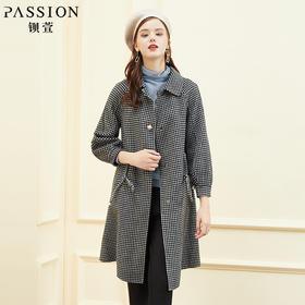 【商场同款】钡萱2018冬季新款 时尚格子灯笼袖羊毛呢大衣W8S6007