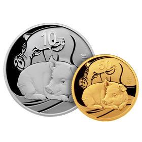 【生肖猪】2019年猪年生肖圆形本色金银币(3克金+30克银)·中国人民银行发行