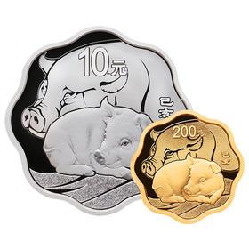 【生肖猪】2019年猪年生肖梅花形金银币(15克金+30克银)·中国人民银行发行