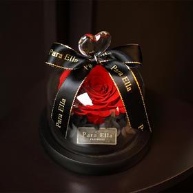 热销十万件,京东199自媒体169 Para Ella进口玫瑰花永生花桃心玻璃罩礼盒 不凋谢的玫瑰 桌面装饰 圣诞节情人节创意礼物