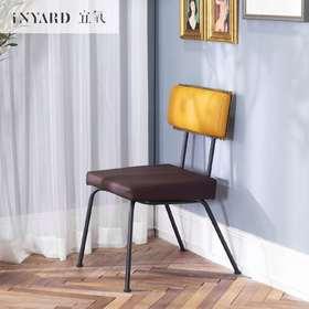 [InYard宜氧]饼干椅/北欧餐椅/软包金属椅子/休闲椅皮质软包椅