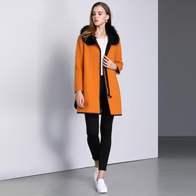 钡萱冬季长袖毛呢外套女中长款立领羊毛呢子大衣女14W574A