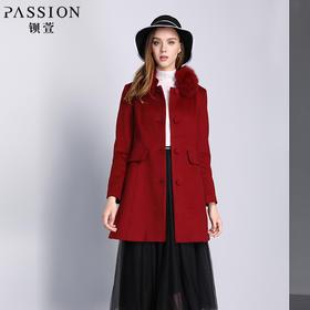 钡萱冬季新款时尚毛领修身中长款毛呢外套羊毛大衣女W5223A