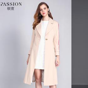 【商场同款】钡萱2018冬季新款 OL风西装领中长款风衣外套女W82209A
