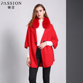 钡萱冬季新款翻领时尚中长款毛呢外套宽松9分袖呢子大衣女W5258A