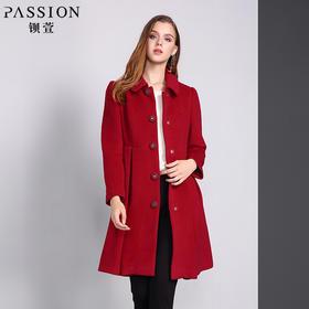 钡萱冬季新款翻领修身中长款毛呢外套中老年长袖呢子大衣女W5317A